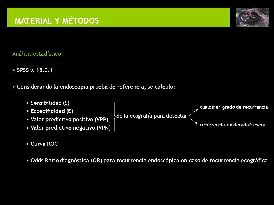 MATERIAL Y MÉTODOS Análisis estadístico: SPSS v. 15.0.1 Considerando la endoscopia prueba de referencia, se calculó: Sensibilidad (S) Especificidad (E
