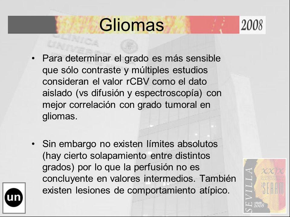 Gliomas Para determinar el grado es más sensible que sólo contraste y múltiples estudios consideran el valor rCBV como el dato aislado (vs difusión y
