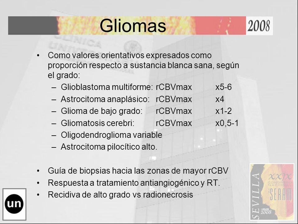 Gliomas Como valores orientativos expresados como proporción respecto a sustancia blanca sana, según el grado: –Glioblastoma multiforme: rCBVmaxx5-6 –