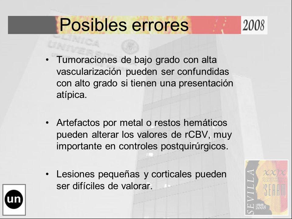 Posibles errores Tumoraciones de bajo grado con alta vascularización pueden ser confundidas con alto grado si tienen una presentación atípica. Artefac