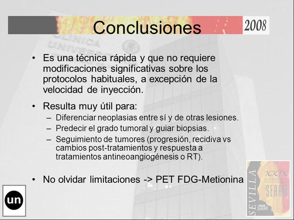 Conclusiones Es una técnica rápida y que no requiere modificaciones significativas sobre los protocolos habituales, a excepción de la velocidad de iny
