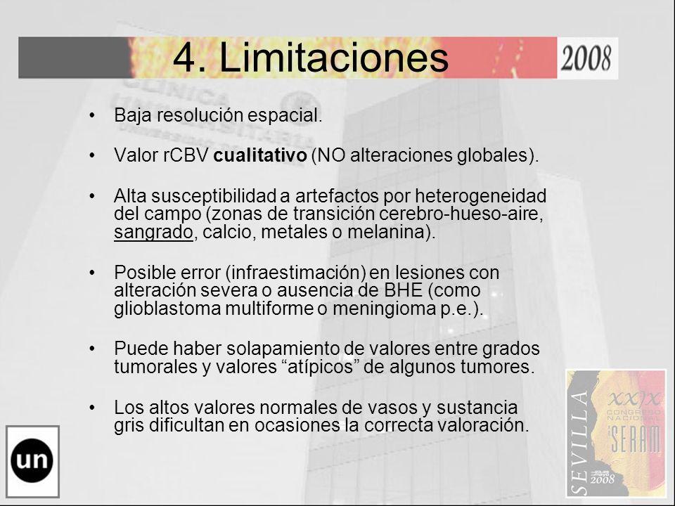 4. Limitaciones Baja resolución espacial. Valor rCBV cualitativo (NO alteraciones globales). Alta susceptibilidad a artefactos por heterogeneidad del
