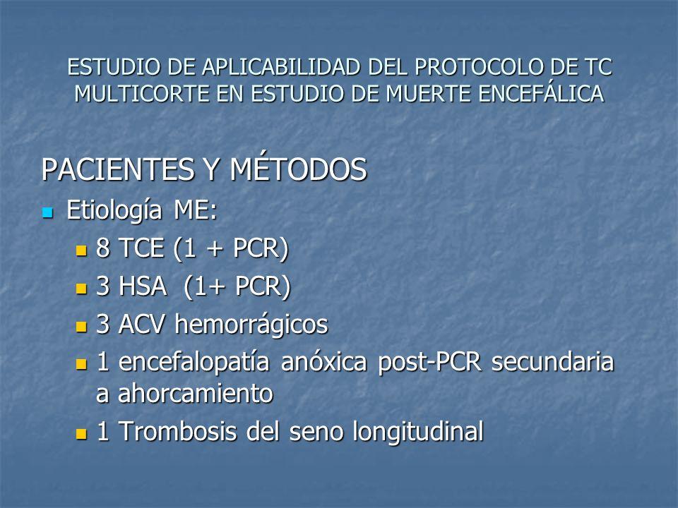 ESTUDIO DE APLICABILIDAD DEL PROTOCOLO DE TC MULTICORTE EN ESTUDIO DE MUERTE ENCEFÁLICA PACIENTES Y MÉTODOS Etiología ME: Etiología ME: 8 TCE (1 + PCR