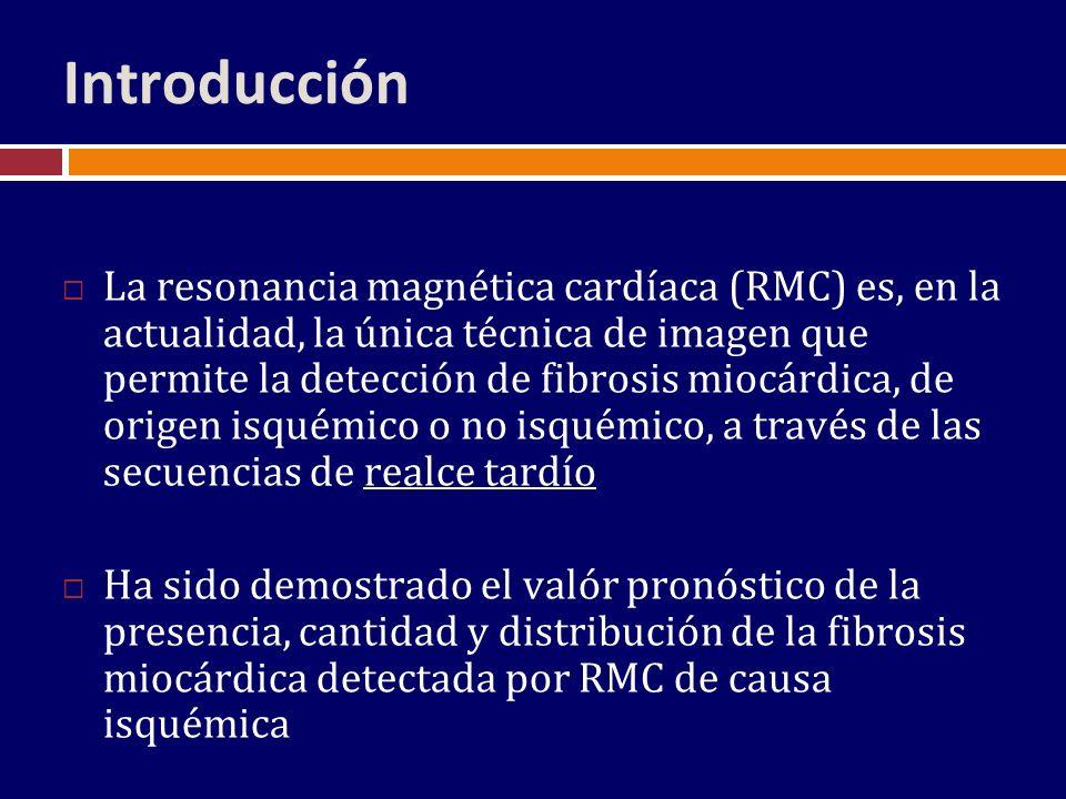 Conclusiones Se detectó fibrosis micárdica por RMC en 21% de los pacientes con MCD, con un parón de distribución mayoritariamente diferente del encontrado en la MCD de causa isquémica La presencia de fibrosis no parece implicar un grado más avanzado de disfunción ventricular La presencia de fibrosis se relaciona con una probabilidad mayor de transplante a los 3 años del seguimiento Los resultados apoyan un papel clínico relevante a la RMC en la evaluación pronóstica de los pacientes con MCD idiopática
