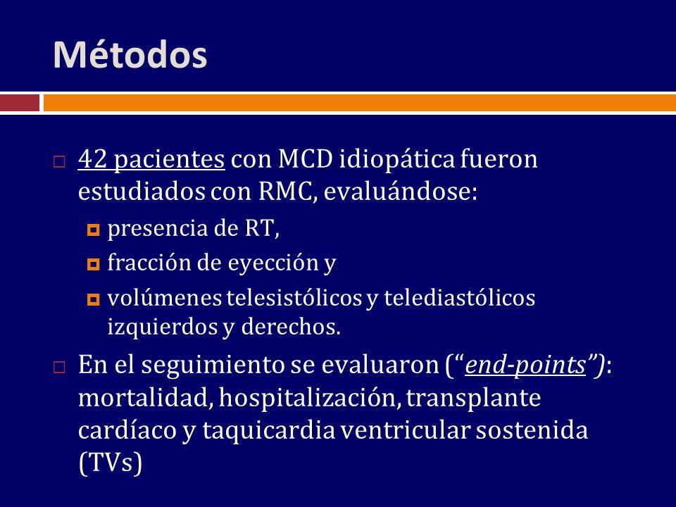 Métodos 42 pacientes con MCD idiopática fueron estudiados con RMC, evaluándose: presencia de RT, fracción de eyección y volúmenes telesistólicos y tel