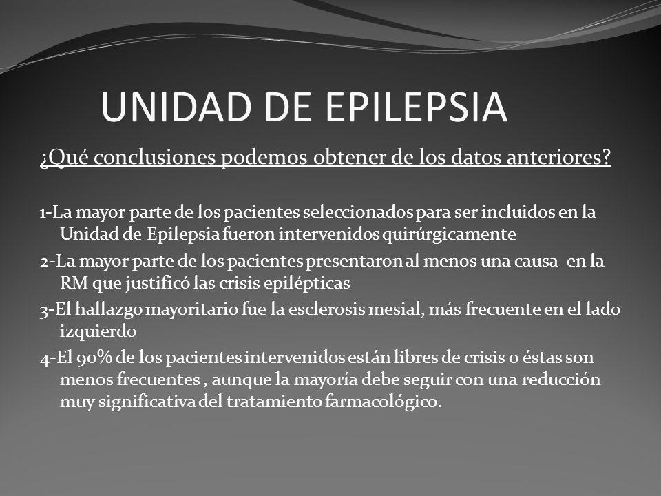 ¿Qué conclusiones podemos obtener de los datos anteriores? 1-La mayor parte de los pacientes seleccionados para ser incluidos en la Unidad de Epilepsi