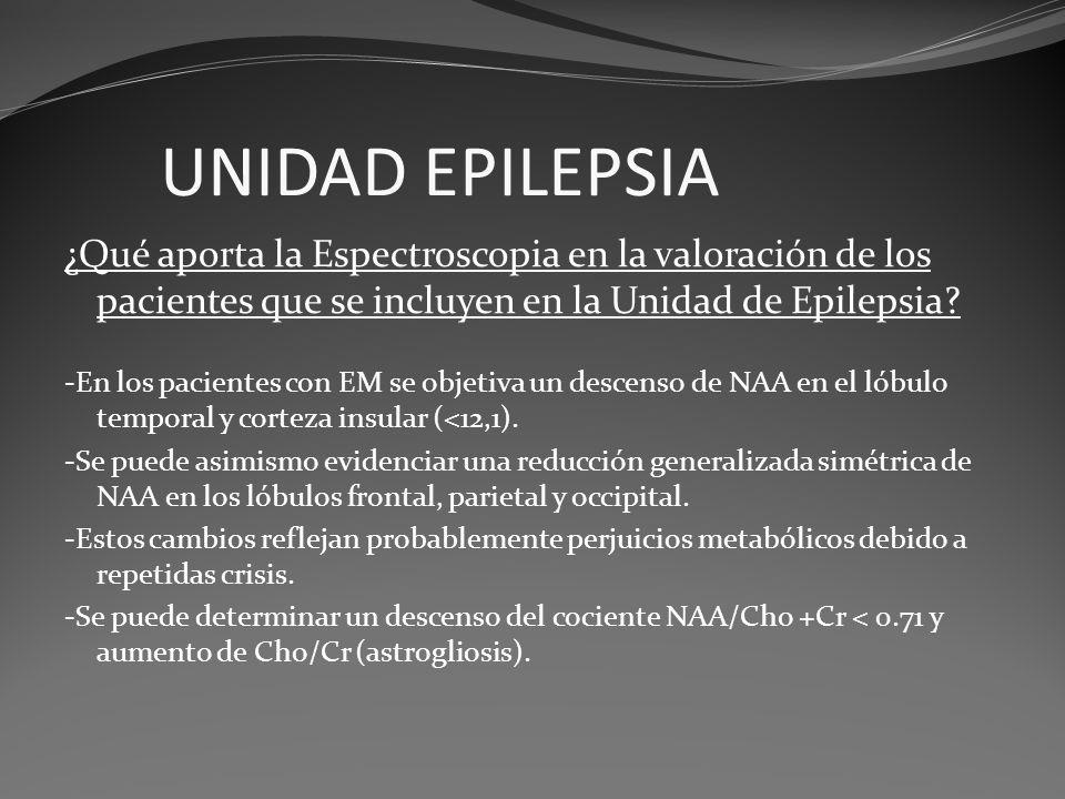 UNIDAD EPILEPSIA ¿Qué aporta la Espectroscopia en la valoración de los pacientes que se incluyen en la Unidad de Epilepsia? -En los pacientes con EM s