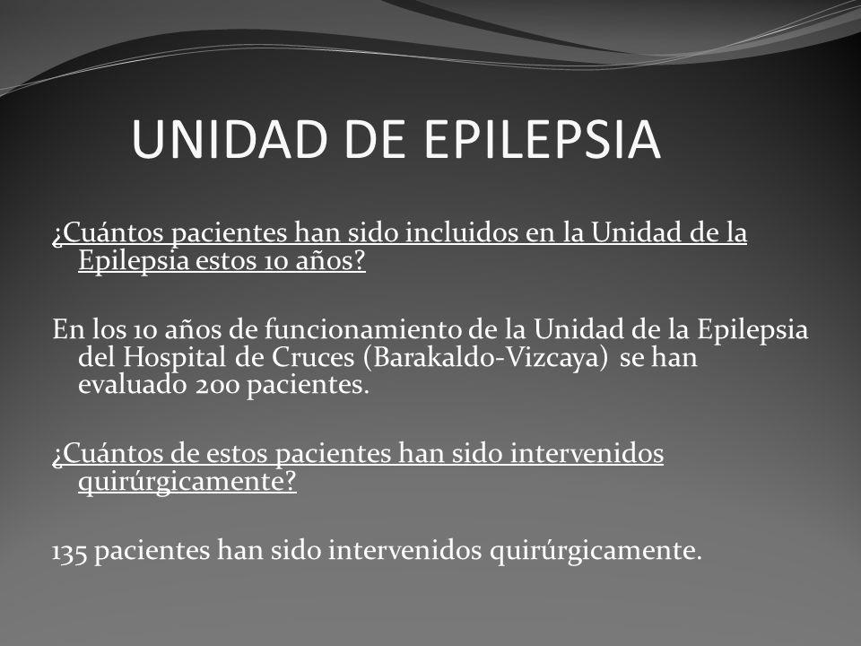 UNIDAD DE EPILEPSIA ¿Cuántos pacientes han sido incluidos en la Unidad de la Epilepsia estos 10 años? En los 10 años de funcionamiento de la Unidad de
