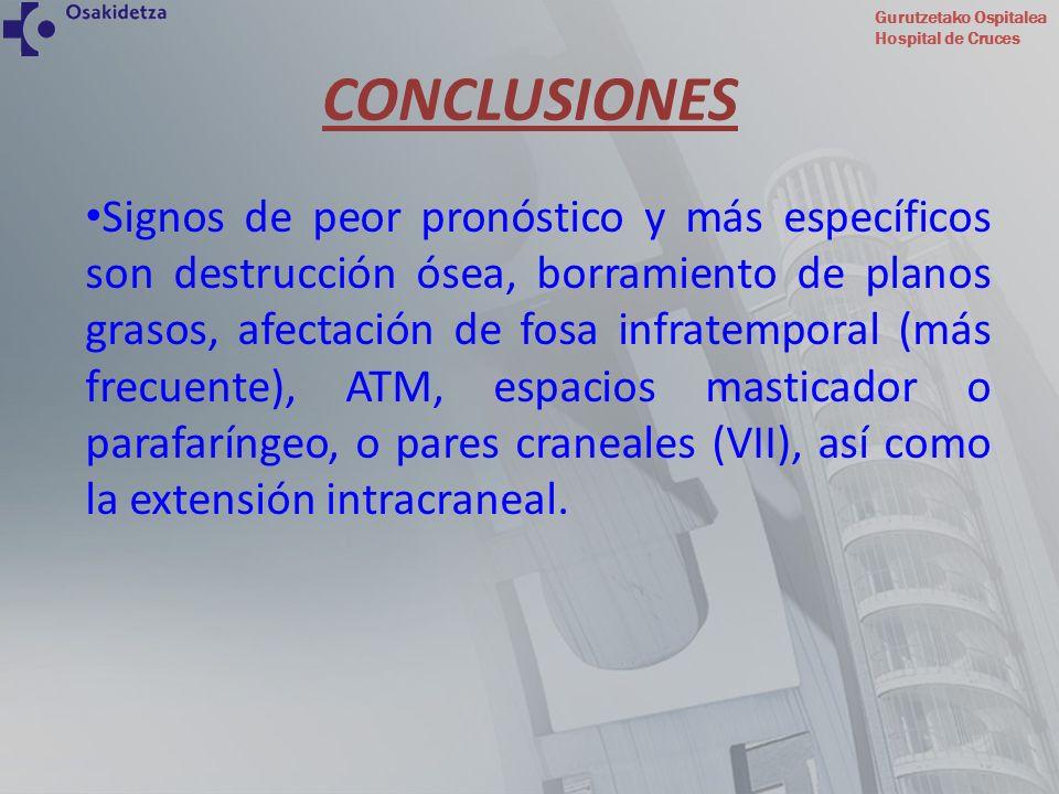 Gurutzetako Ospitalea Hospital de Cruces Signos de peor pronóstico y más específicos son destrucción ósea, borramiento de planos grasos, afectación de