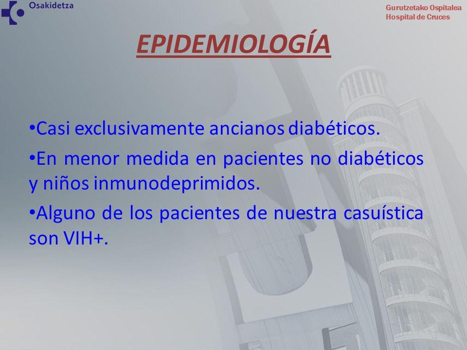 Gurutzetako Ospitalea Hospital de Cruces EPIDEMIOLOGÍA Casi exclusivamente ancianos diabéticos. En menor medida en pacientes no diabéticos y niños inm