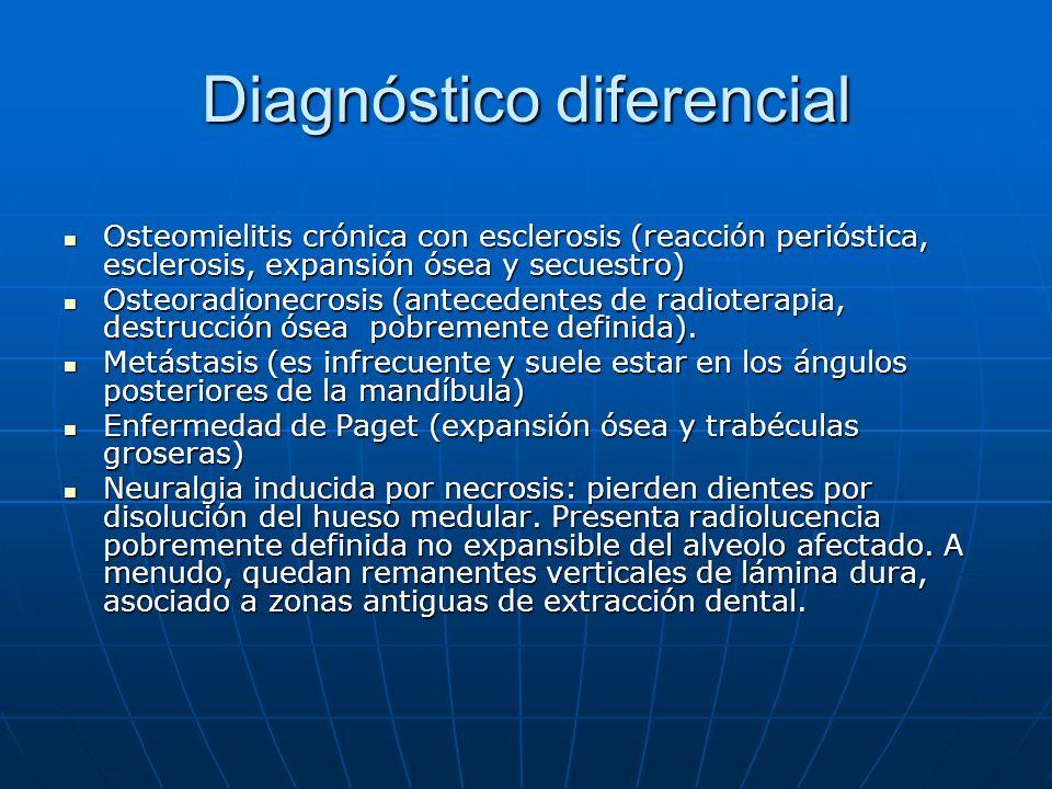 Diagnóstico diferencial Osteomielitis crónica con esclerosis (reacción perióstica, esclerosis, expansión ósea y secuestro) Osteomielitis crónica con e