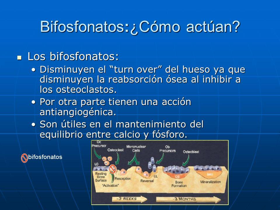 Bifosfonatos:¿Cómo actúan? Los bifosfonatos: Los bifosfonatos: Disminuyen el turn over del hueso ya que disminuyen la reabsorción ósea al inhibir a lo