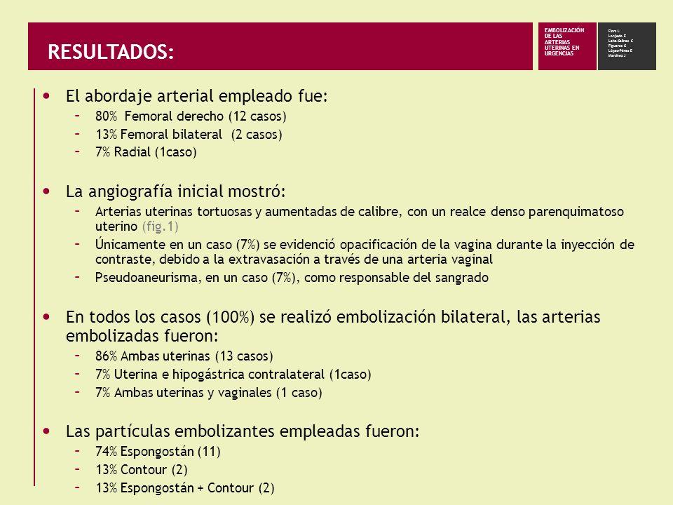 RESULTADOS: El abordaje arterial empleado fue: – 80% Femoral derecho (12 casos) – 13% Femoral bilateral (2 casos) – 7% Radial (1caso) La angiografía i