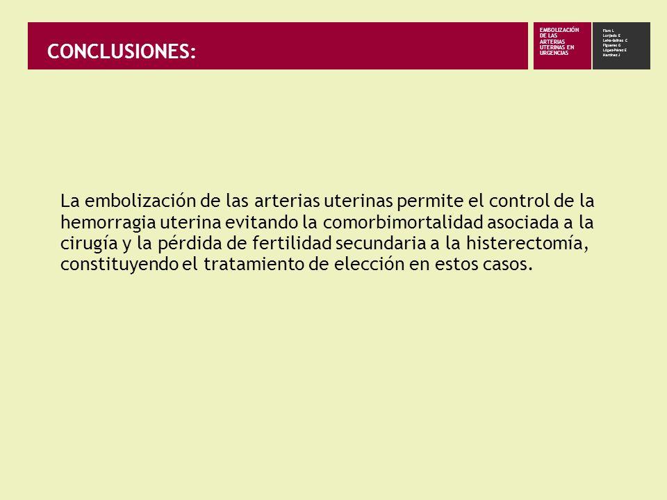 CONCLUSIONES: La embolización de las arterias uterinas permite el control de la hemorragia uterina evitando la comorbimortalidad asociada a la cirugía