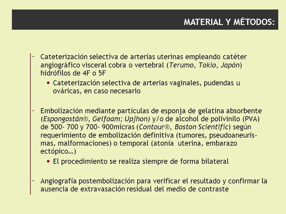 MATERIAL Y MÉTODOS: – Cateterización selectiva de arterias uterinas empleando catéter angiográfico visceral cobra o vertebral (Terumo, Tokio, Japón) h