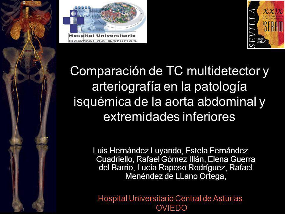 Objetivos Conocer el grado de correlación de la TCMD y la arteriografía, en el diagnóstico de la patología isquémica de los diferentes segmentos arteriales estudiados Valorar si la angio TC de aorta abdominal y extremidades inferiores puede ser la primera y única exploración de inicio en esta patología