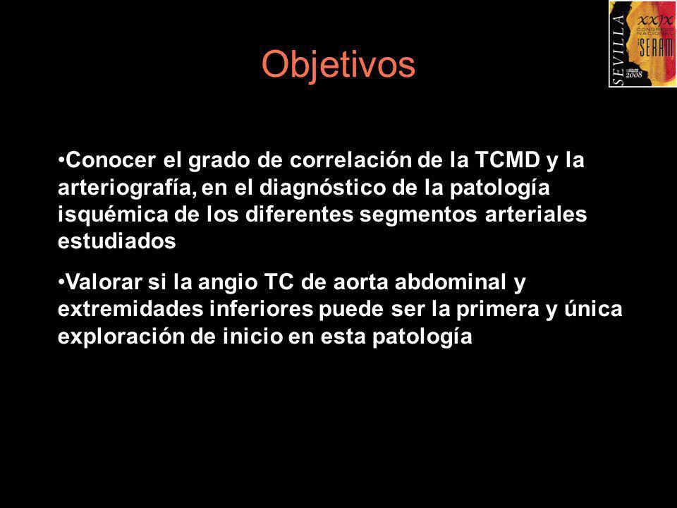 Material y Método Revisión retrospectiva de todos los pacientes que se sometieron a la realización de TCMD de aorta abdominal y extremidades inferiores, con posterioridad a la implantación en nuestro Hospital de TCMD de 64 cortes, desde abril a octubre de 2006, a los que posteriormente se les realizó arteriografía Se realizaron durante este periodo 74 angio TCMD de aorta abdominal y extremidades inferiores de los cuales tenían arteriografía 26 pacientes.