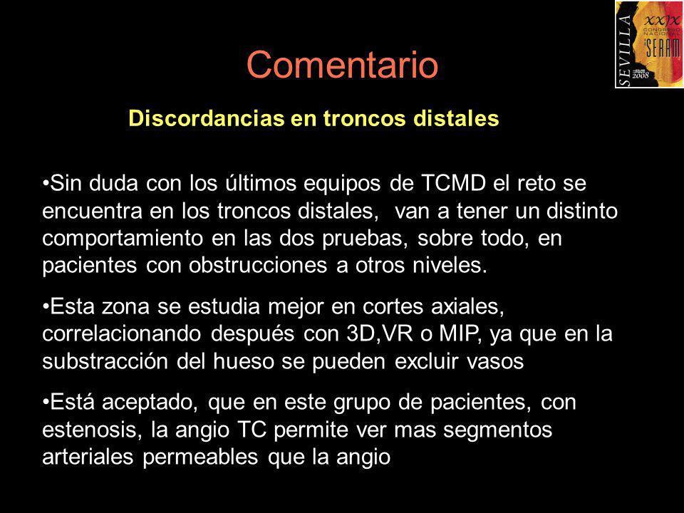 Comentario Discordancias en troncos distales Sin duda con los últimos equipos de TCMD el reto se encuentra en los troncos distales, van a tener un dis