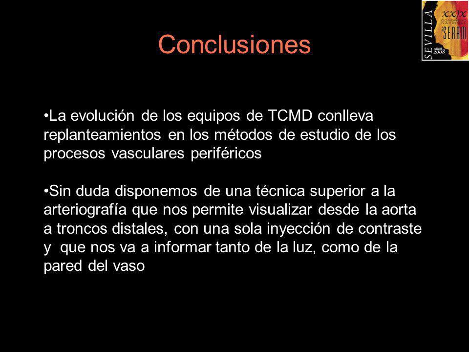 Conclusiones La evolución de los equipos de TCMD conlleva replanteamientos en los métodos de estudio de los procesos vasculares periféricos Sin duda d