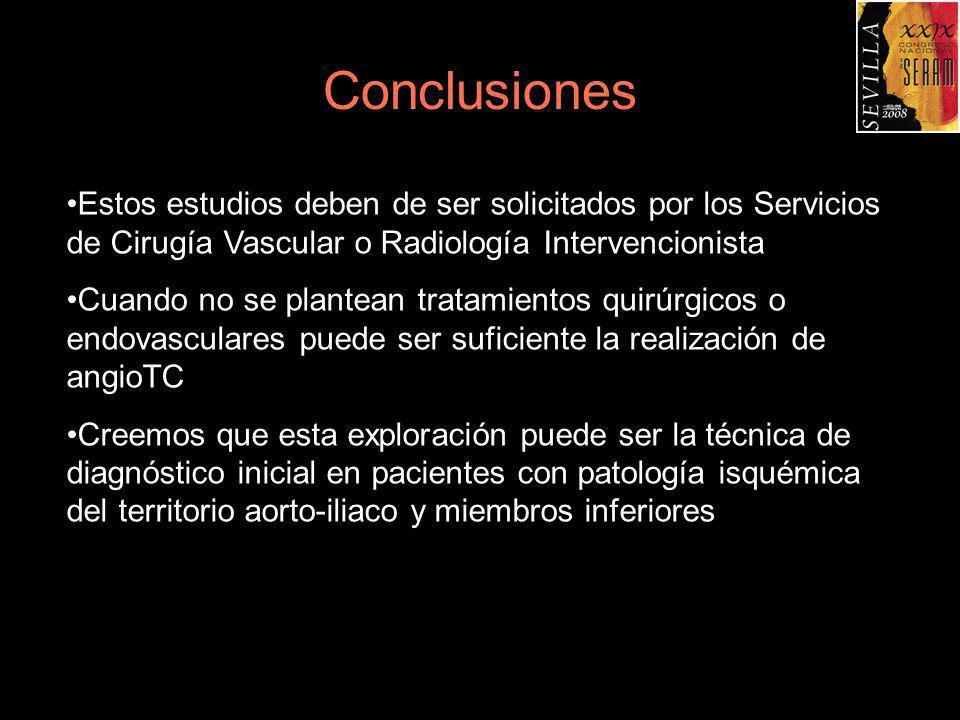 Conclusiones Estos estudios deben de ser solicitados por los Servicios de Cirugía Vascular o Radiología Intervencionista Cuando no se plantean tratami