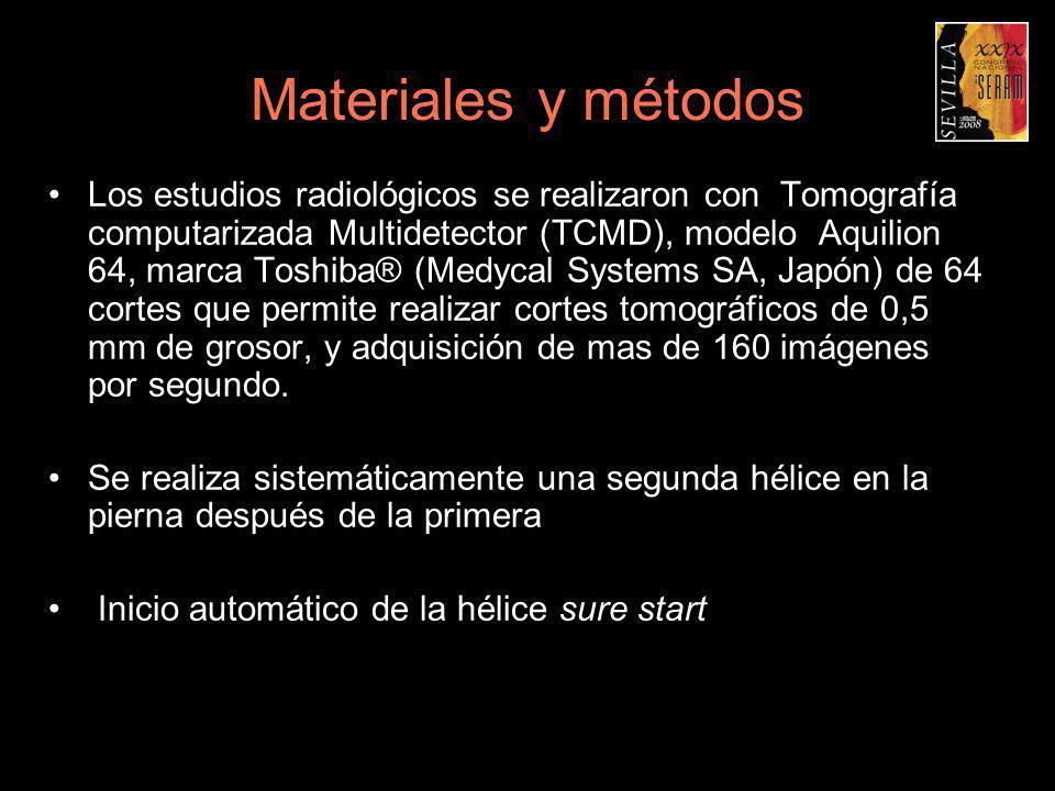 Materiales y métodos Los estudios radiológicos se realizaron con Tomografía computarizada Multidetector (TCMD), modelo Aquilion 64, marca Toshiba® (Me