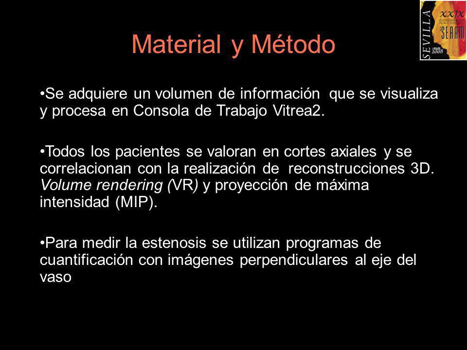 Material y Método Se adquiere un volumen de información que se visualiza y procesa en Consola de Trabajo Vitrea2. Todos los pacientes se valoran en co