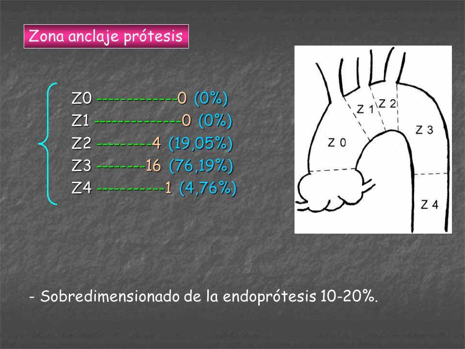 Z0 -------------0 (0%) Z1 --------------0 (0%) Z2 ---------4 (19,05%) Z3 --------16 (76,19%) Z4 -----------1 (4,76%) Zona anclaje prótesis - Sobredime