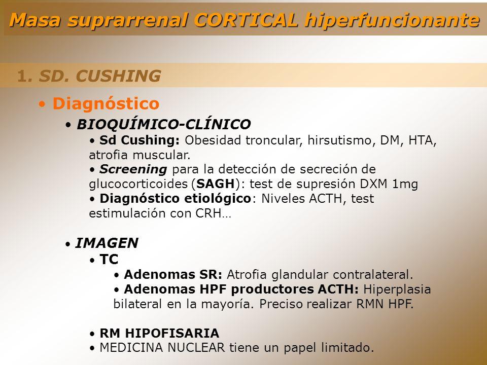 1. SD. CUSHING Diagnóstico BIOQUÍMICO-CLÍNICO Sd Cushing: Obesidad troncular, hirsutismo, DM, HTA, atrofia muscular. Screening para la detección de se