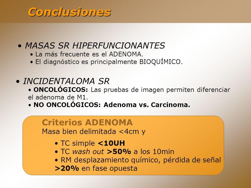 Conclusiones MASAS SR HIPERFUNCIONANTES La más frecuente es el ADENOMA. El diagnóstico es principalmente BIOQUÍMICO. INCIDENTALOMA SR ONCOLÓGICOS: Las