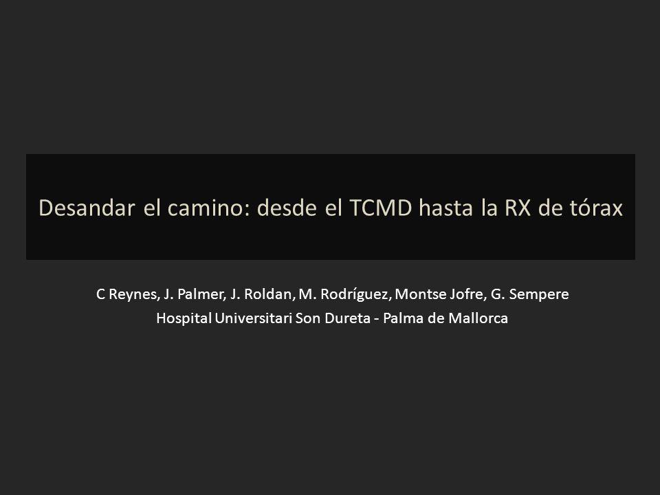 Desandar el camino: desde el TCMD hasta la RX de tórax C Reynes, J. Palmer, J. Roldan, M. Rodríguez, Montse Jofre, G. Sempere Hospital Universitari So