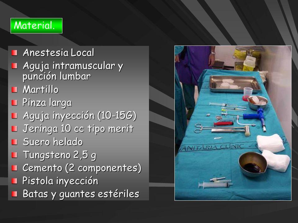 Material. Anestesia Local Aguja intramuscular y punción lumbar Martillo Pinza larga Aguja inyección (10-15G) Jeringa 10 cc tipo merit Suero helado Tun