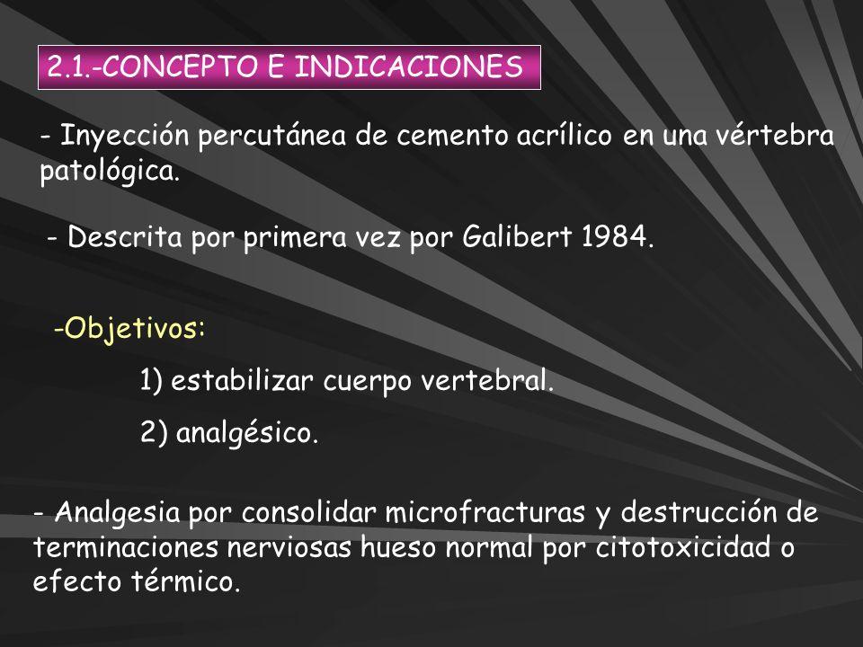 2.1.-CONCEPTO E INDICACIONES - Inyección percutánea de cemento acrílico en una vértebra patológica. - Descrita por primera vez por Galibert 1984. -Obj