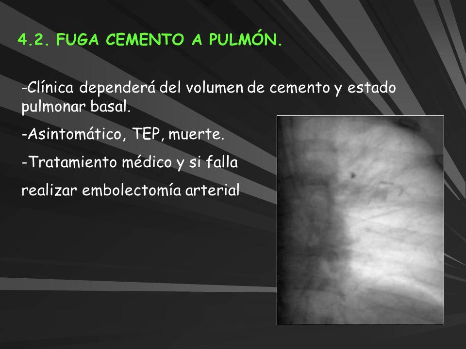 4.2. FUGA CEMENTO A PULMÓN. -Clínica dependerá del volumen de cemento y estado pulmonar basal. -Asintomático, TEP, muerte. -Tratamiento médico y si fa