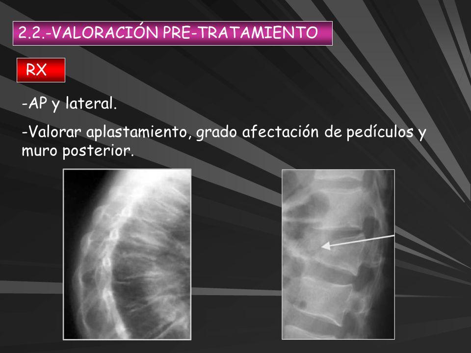 2.2.-VALORACIÓN PRE-TRATAMIENTO RX -AP y lateral. -Valorar aplastamiento, grado afectación de pedículos y muro posterior.