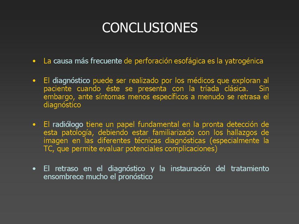 CONCLUSIONES La causa más frecuente de perforación esofágica es la yatrogénica El diagnóstico puede ser realizado por los médicos que exploran al paci