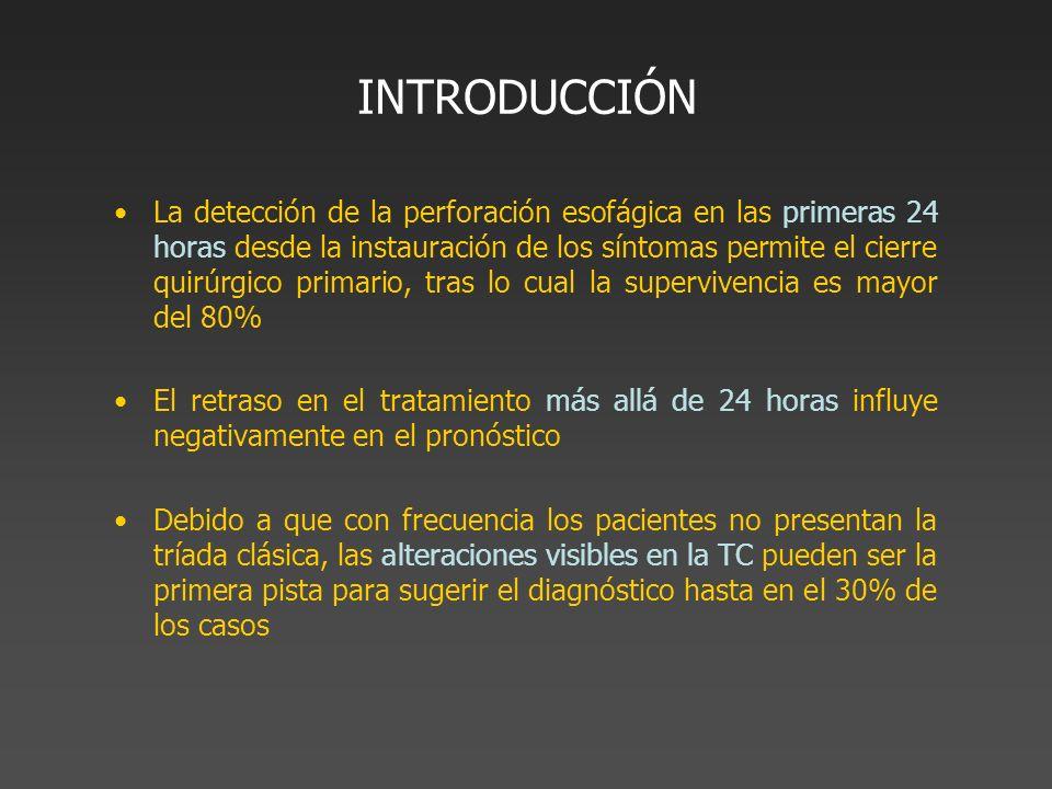 INTRODUCCIÓN La detección de la perforación esofágica en las primeras 24 horas desde la instauración de los síntomas permite el cierre quirúrgico prim