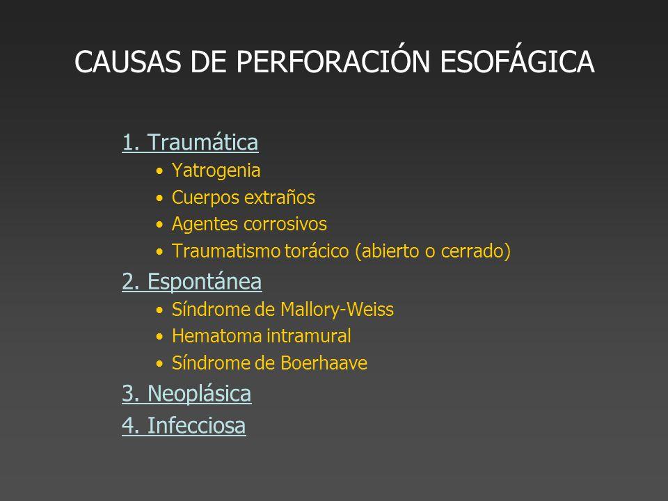 CAUSAS DE PERFORACIÓN ESOFÁGICA 1. Traumática Yatrogenia Cuerpos extraños Agentes corrosivos Traumatismo torácico (abierto o cerrado) 2. Espontánea Sí