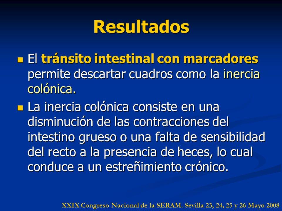 Resultados El tránsito intestinal con marcadores permite descartar cuadros como la inercia colónica. El tránsito intestinal con marcadores permite des