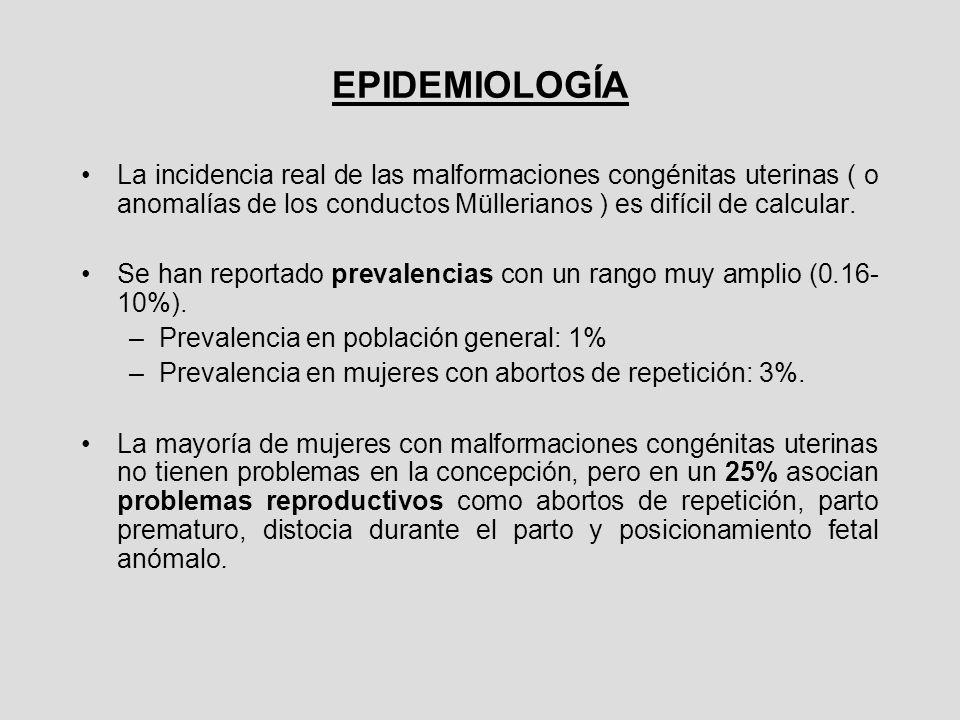 EPIDEMIOLOGÍA La incidencia real de las malformaciones congénitas uterinas ( o anomalías de los conductos Müllerianos ) es difícil de calcular. Se han