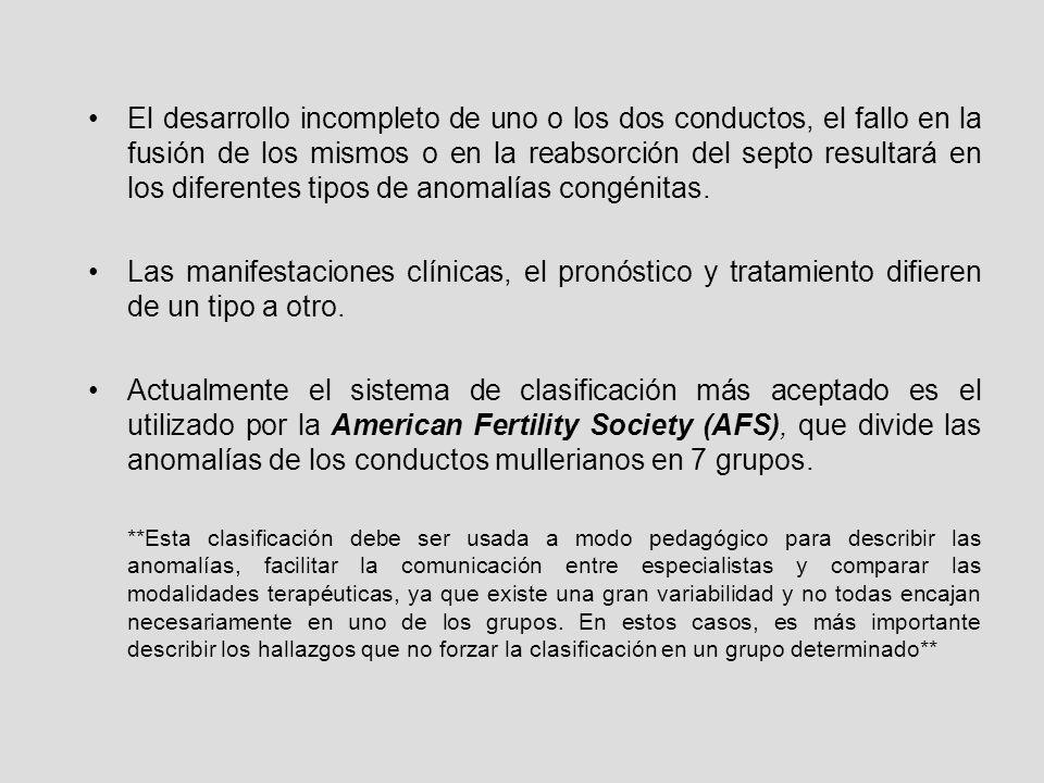CLASIFICACIÓN DE LA AFS ALTERACIÓN DESARROLLO CONDUCTOS DESARROLLO INCOMPLETO DE 1 CONDUCTO ALTERACIÓN FUSIÓN CONDUCTOS ALTERACIÓN REGRESIÓN SEPTO TIPO I HIPOPLASIA/AGENESIA TIPO II UNICORNE TIPO III DIDELFO (no fusión) TIPO IV BICORNE (fusión parcial) TIPO V SEPTADO (parcial o total) TIPO VI ARCUATO (reabsorción casi completa) TIPO VII ANOMALÍAS ASOCIADAS A LA EXPOSICIÓN IN UTERO DE DES