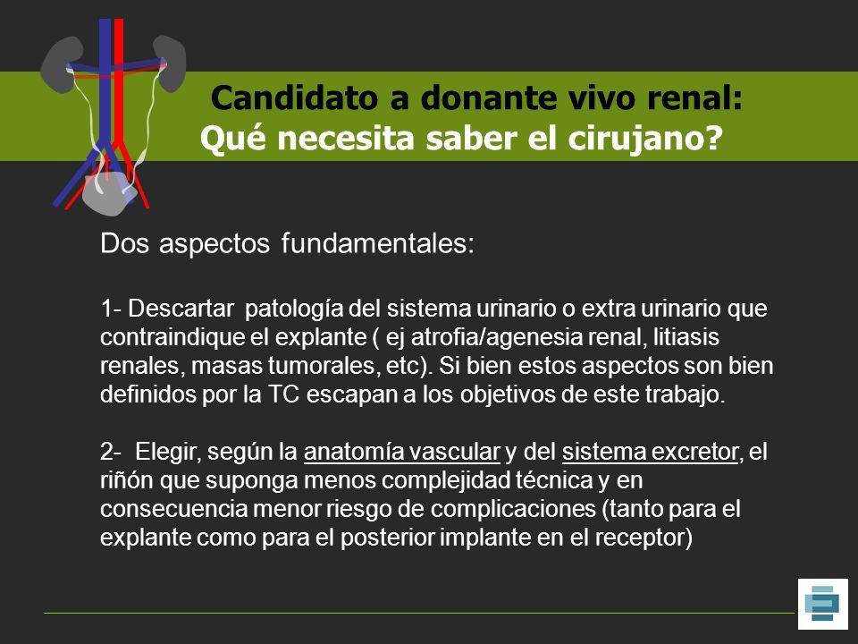 Candidato a donante vivo renal: Qué necesita saber el cirujano? Dos aspectos fundamentales: 1- Descartar patología del sistema urinario o extra urinar