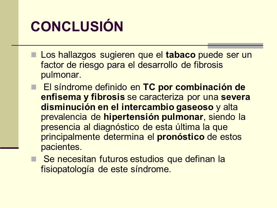 CONCLUSIÓN Los hallazgos sugieren que el tabaco puede ser un factor de riesgo para el desarrollo de fibrosis pulmonar. El síndrome definido en TC por
