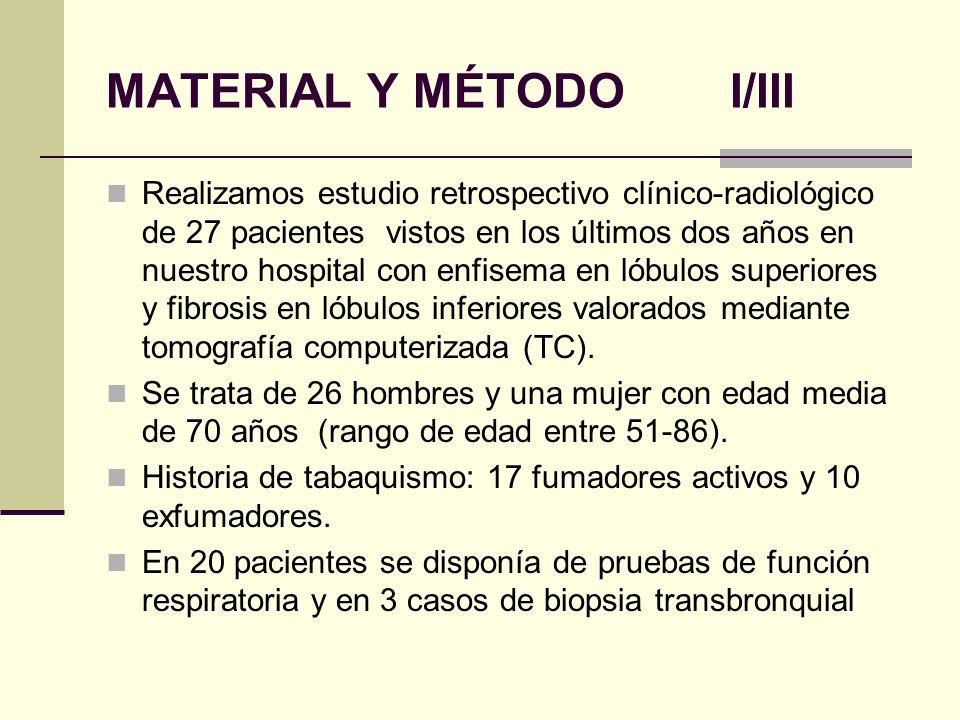 MATERIAL Y MÉTODO II/III Enfisema se definió como áreas bien definidas de menor atenuación que el parénquima normal adyacente, sin pared o delimitadas por una fina pared (<1mm), or por múltiples bullas de predominio en campos superiores.