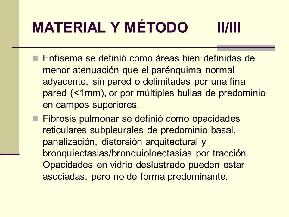 MATERIAL Y MÉTODO II/III Enfisema se definió como áreas bien definidas de menor atenuación que el parénquima normal adyacente, sin pared o delimitadas