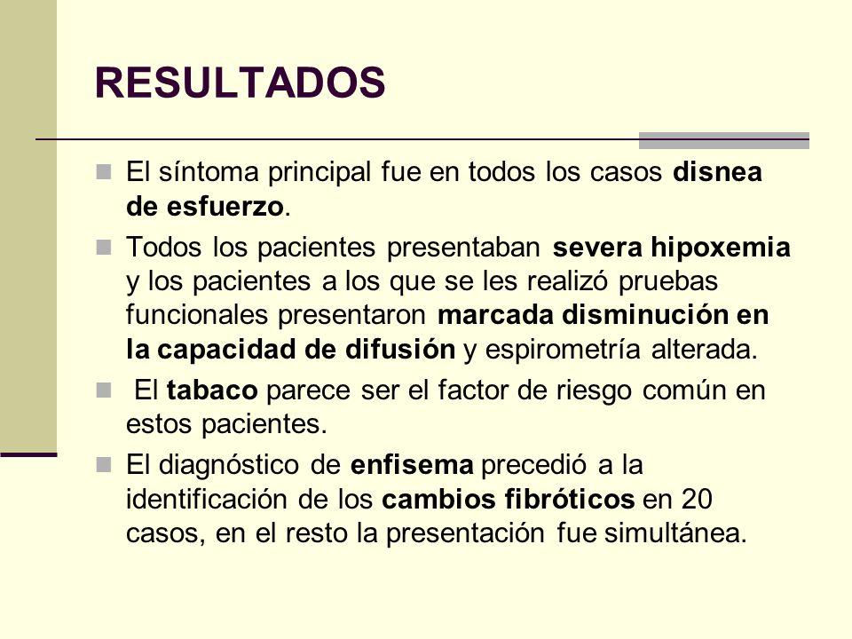 Enfisema en lóbulos superiores y fibrosis en lóbulos inferiores