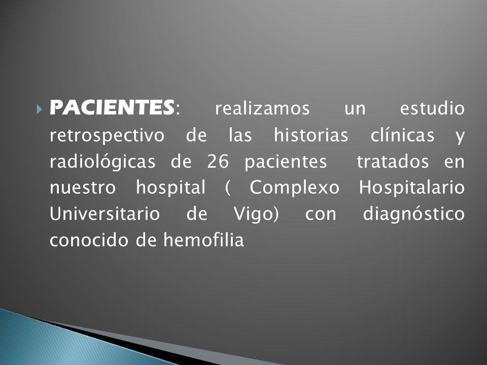 PACIENTES : realizamos un estudio retrospectivo de las historias clínicas y radiológicas de 26 pacientes tratados en nuestro hospital ( Complexo Hospi