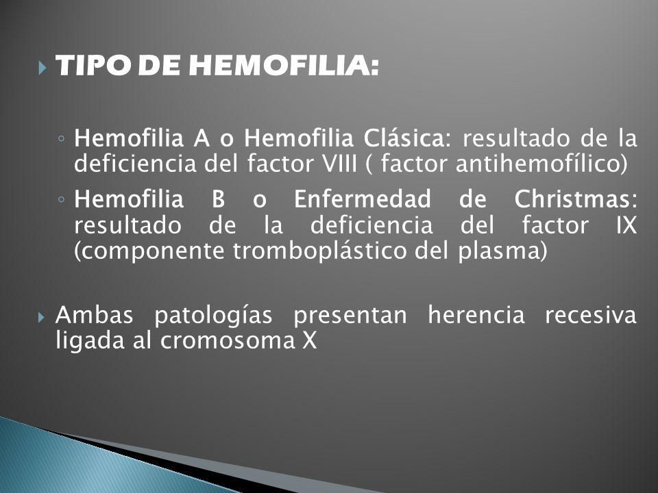 TIPO DE HEMOFILIA: Hemofilia A o Hemofilia Clásica: resultado de la deficiencia del factor VIII ( factor antihemofílico) Hemofilia B o Enfermedad de C