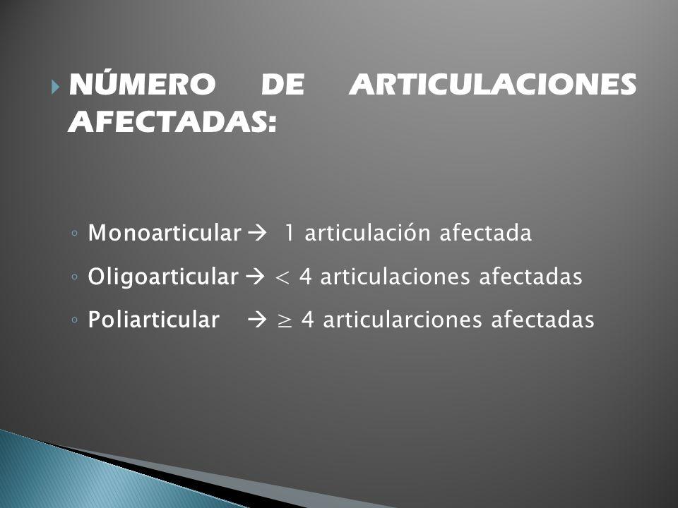 NÚMERO DE ARTICULACIONES AFECTADAS: Monoarticular 1 articulación afectada Oligoarticular < 4 articulaciones afectadas Poliarticular 4 articularciones