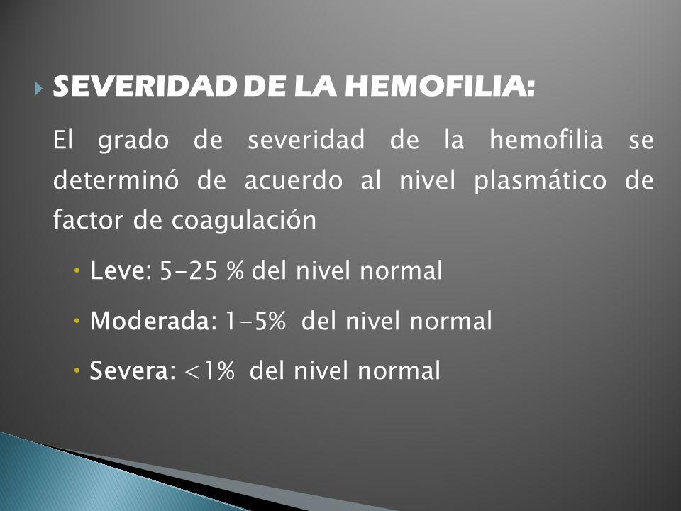 SEVERIDAD DE LA HEMOFILIA: El grado de severidad de la hemofilia se determinó de acuerdo al nivel plasmático de factor de coagulación Leve: 5-25 % del