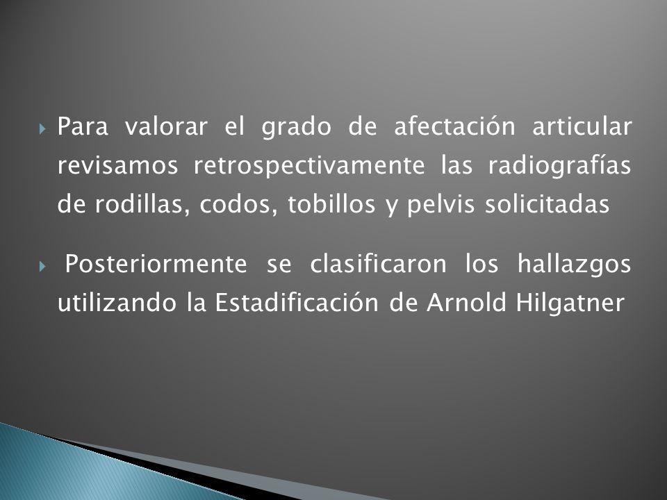 Para valorar el grado de afectación articular revisamos retrospectivamente las radiografías de rodillas, codos, tobillos y pelvis solicitadas Posterio